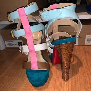 Christian Louboutin multicolored Rocknbuckle heels